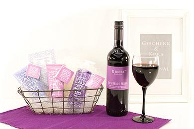 Online Shop Frauen PRÄSENTKORB SPA MANDEL mit Wein