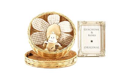 Baby Geschenkkorb mit süßer Spieluhr Äffchen
