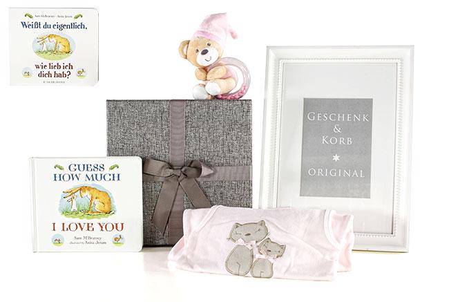 BABY GESCHENKSET BABY GLÜCK mit Buch für Mädchen