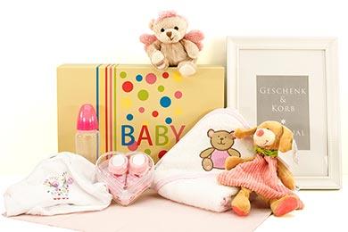Willkommen Baby Geschenkset BABYS SCHUTZENGEL ROSA