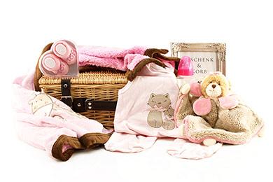Baby Präsentkorb für Mädchen mit Bukowski Kuscheltuch