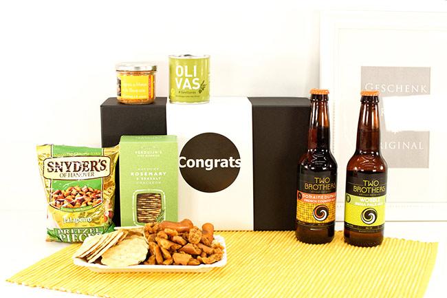 TWO BROTHERS Bier Geschenkkorb mit Snacks