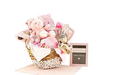 Baby Geschenkkorb rosa mit WOW Faktor - für Mädchen