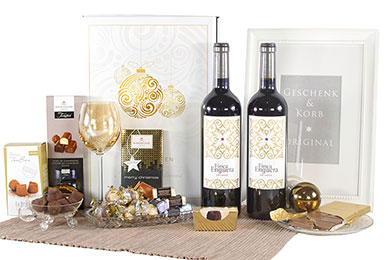 Weihnachtsgeschenke GOLDGLANZ mit 2 Flaschen Rotwein