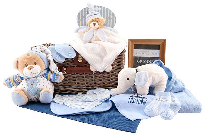 Niedliches Jungen Baby Geschenkkorb Basic