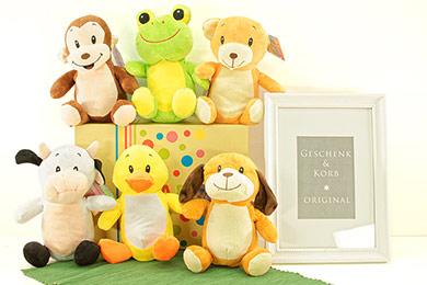 Plüsch Zootiere im 6er Geschenkset für Babys und Kinder