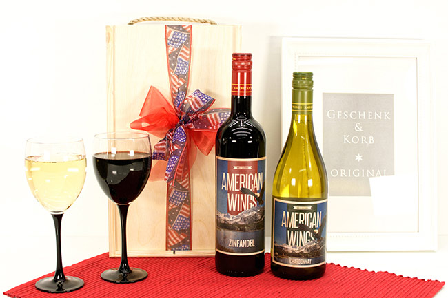 USA Wein Geschenkset mit Rotwein und Weißwein