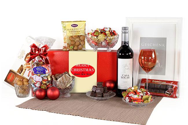 ROTWEIN mit Weihnachsleckereien Geschenkbox Versand