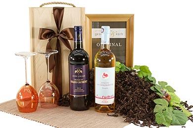 Wein Geschenkbox mit Rotwein Frankreich Tropfen
