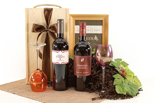 Wein Geschenkset mit Rotwein aus Italien und Spanien