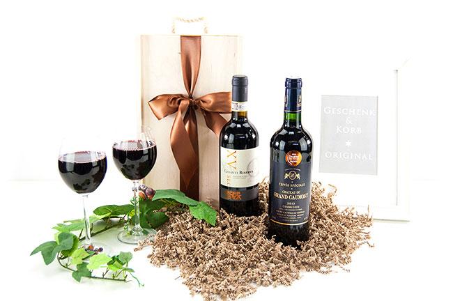 Weingeschenk mit französischem und italienischem Wein