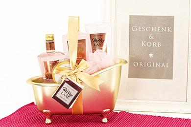 PEONY BLOOM - PFINGSTROSE Geschenkkorb mit Pflegeprodukten