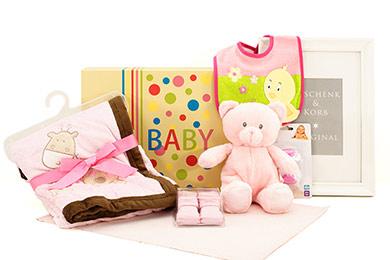 Babygeschenke BABY MÄDCHEN KUSCHELSET mit Teddybär